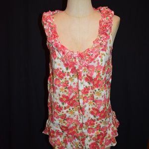 Jessica Simpson Pink Green Floral Print Ruffle